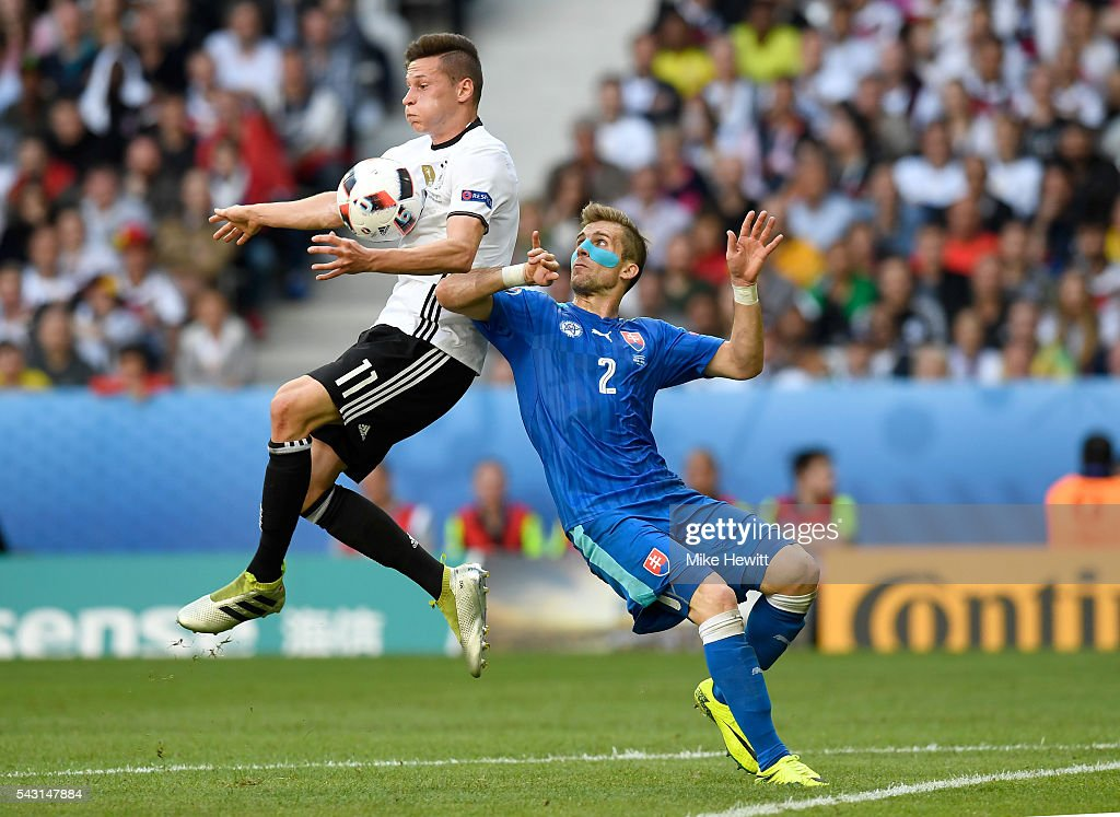 <a gi-track='captionPersonalityLinkClicked' href=/galleries/search?phrase=Julian+Draxler&family=editorial&specificpeople=7184479 ng-click='$event.stopPropagation()'>Julian Draxler</a> of Germany and <a gi-track='captionPersonalityLinkClicked' href=/galleries/search?phrase=Peter+Pekarik&family=editorial&specificpeople=5577121 ng-click='$event.stopPropagation()'>Peter Pekarik</a> of Slovakia compete for the ball during the UEFA EURO 2016 round of 16 match between Germany and Slovakia at Stade Pierre-Mauroy on June 26, 2016 in Lille, France.