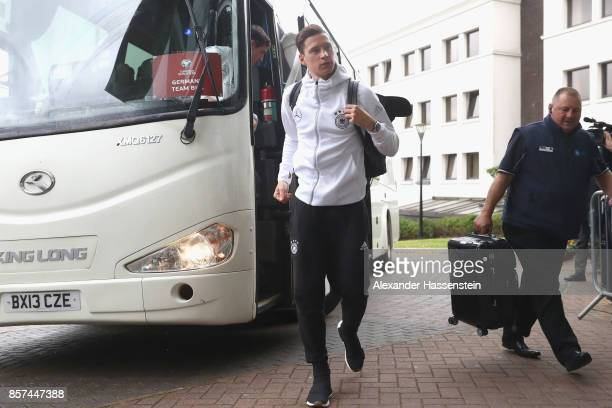 Julian Draxler of Germany arrives with the team at Hastings Stormont Hotel on October 4 2017 in Belfast United Kingdom