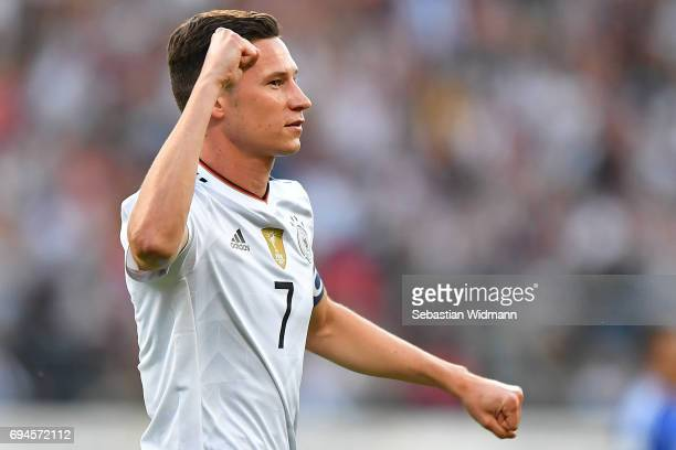 Julian Draxler of Germany celebrates his first goal during the FIFA 2018 World Cup Qualifier between Germany and San Marino at Stadion Nurnberg on...
