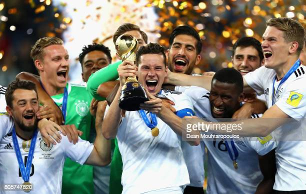 Julian Draxler of Germany celebrates with the FIFA Confederations Cup trophy after the FIFA Confederations Cup Russia 2017 Final between Chile and...