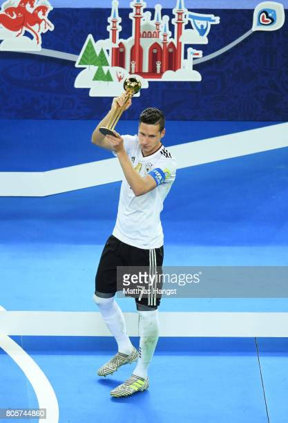 Julian Draxler of Germany celerbates with the golden ball award after the FIFA Confederations Cup Russia 2017 Final between Chile and Germany at...
