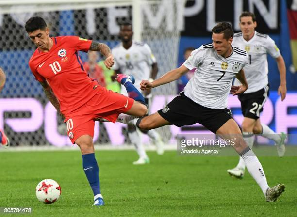 Julian Draxler of Germany in action against Pablo Hernandez of Chile during the Confederations Cup 2017 Final match Chile Germany at SaintPetersburg...