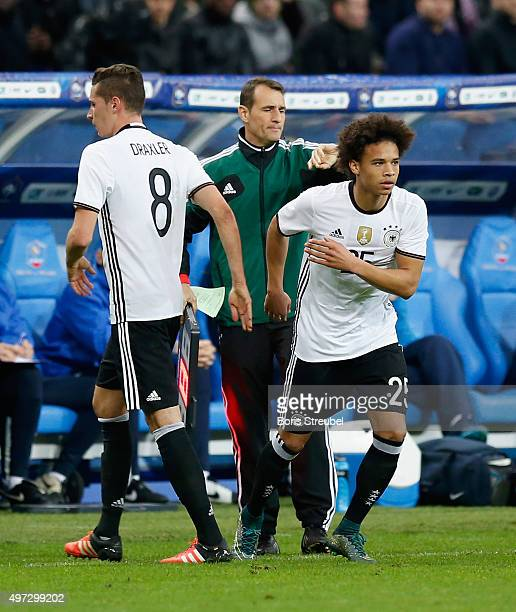 Julian Draxler of Germany is replaces by Leroy Sane during the International Friendly match between France and Germany at the Stade de France on...