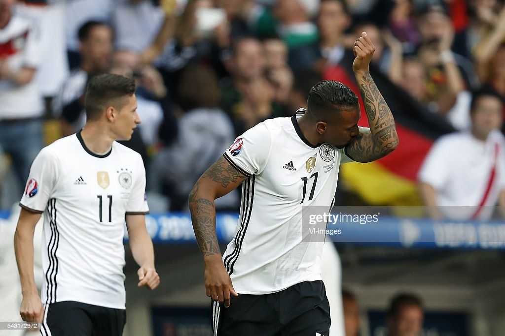 Julian Draxler of Germany, Jerome Boateng of Germany during the UEFA Euro 2016 round of 16 match between Germany and Slovakia on June 26, 2016 at the stade Pierre-Mauloy in Lille, France.