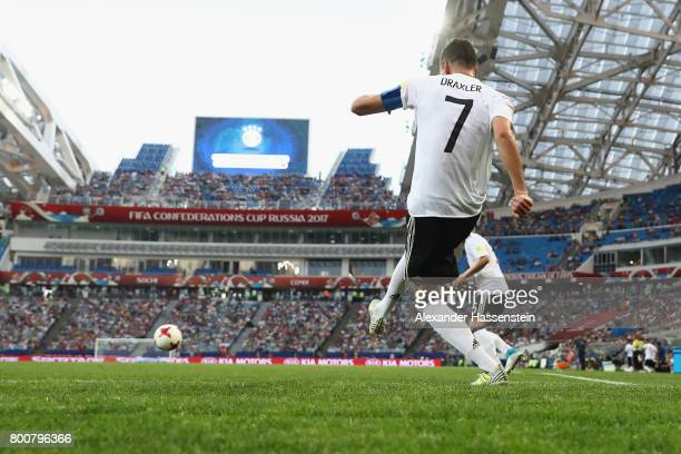 Julian Draxler of Germany kicks a corner during the FIFA Confederations Cup Russia 2017 Group B match between Germany and Cameroon at Fisht Olympic...