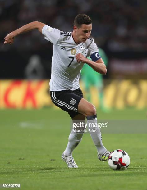 Julian Draxler of Germany kicks the ball during the FIFA 2018 World Cup Qualifier between Germany and San Marino at Max Morlock Stadion on June 10...