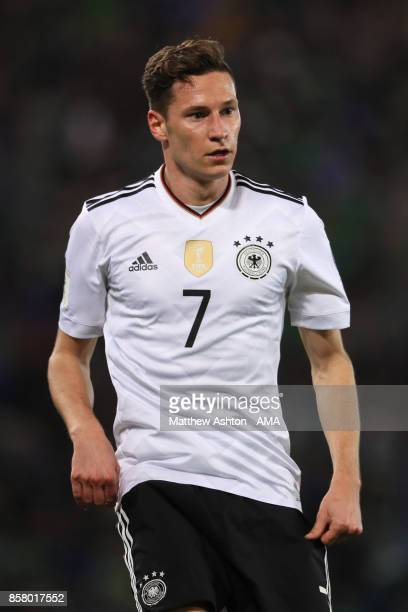 Julian Draxler of Germany looks on during the FIFA 2018 World Cup Qualifier between Northern Ireland and Germany at Windsor Park on October 5 2017 in...