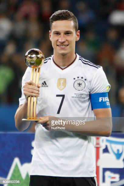 Julian Draxler of Germany national team with Golden Ball trophy during award ceremony after FIFA Confederations Cup Russia 2017 final match between...