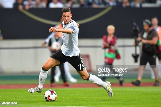 Julian Draxler of Germany plays the ball during the FIFA 2018 World Cup Qualifier between Germany and San Marino at Stadion Nurnberg on June 10 2017...