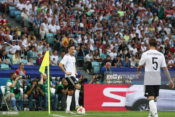Julian Draxler of Germany prepares for a corner during the FIFA Confederations Cup Russia 2017 Group B match between Germany and Cameroon at Fisht...