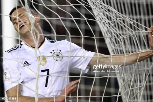 Julian Draxler of Germany reacts during the FIFA 2018 World Cup Qualifing Group C between Azerbaijan and Germany at Tofiq Bahramov Stadium on March...