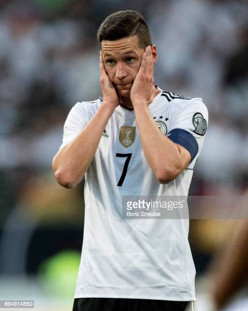 Julian Draxler of Germany reacts during the FIFA 2018 World Cup Qualifier between Germany and San Marino at Stadion Nuernberg on June 10 2017 in...