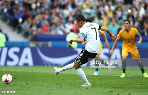 Julian Draxler of Germany scores his sides second goal from the penalty spot during the FIFA Confederations Cup Russia 2017 Group B match between...
