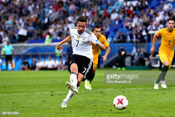 Julian Draxler of Germany takes a penalty and scores the second goal for Germany during the FIFA Confederations Cup Russia 2017 Group B match between...