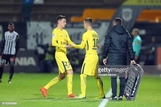 Julian Draxler of Paris Saint Germain and Giovani Lo Celso of Paris Saint Germain during the Ligue 1 match between Angers SCO and Paris Saint Germain...