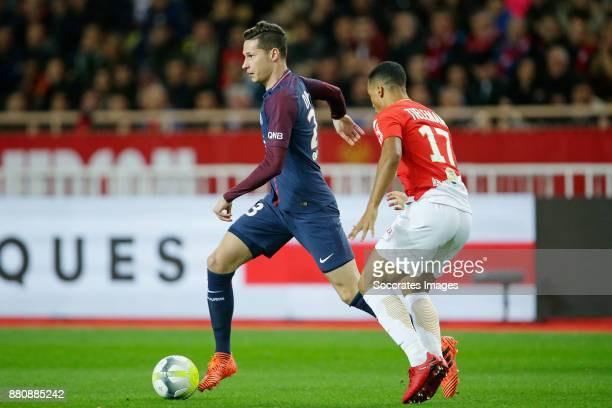 Julian Draxler of Paris Saint Germain Youri Tielemans of AS Monaco during the French League 1 match between AS Monaco v Paris Saint Germain at the...