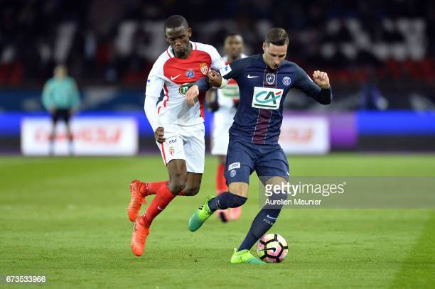 Julian Draxler of Paris SaintGermain fights for the ball during the French Cup SemiFinal match between Paris SaintGermain and As Monaco at Parc des...