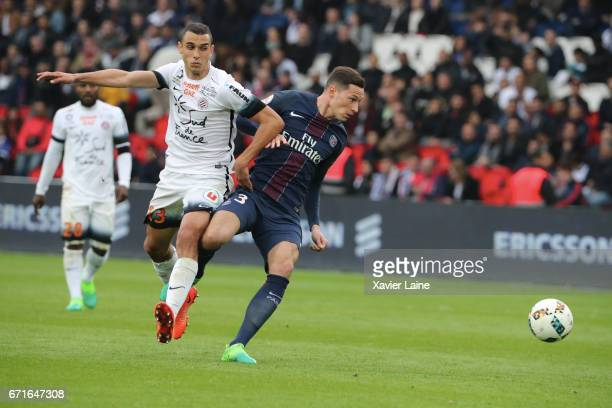 Julian Draxler of Paris SaintGermain in action during the French Ligue 1 match between Paris Saint Germain and Montpellier Herault SC at Parc des...