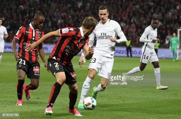 Julian Draxler of Paris SaintGermain in action during the French Ligue 1 match between OGC Nice and Paris SaintGermain at Allianz Arena on April 30...
