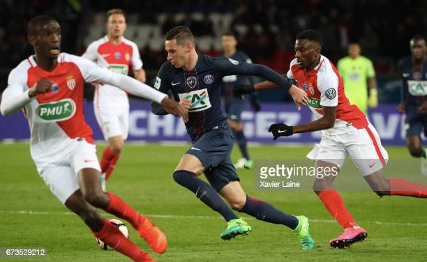 Julian Draxler of Paris SaintGermain in action during the French Cup SemiFinal match between Paris SaintGermain and As Monaco at Parc des Princes on...