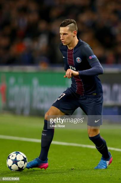 Julian Draxler of Paris SaintGermain in action during the UEFA Champions League Round of 16 first leg match between Paris SaintGermain and FC...