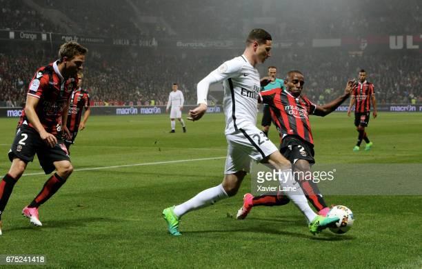 Julian Draxler of Paris SaintGermain in action the French Ligue 1 match between OGC Nice and Paris SaintGermain at Allianz Arena on April 30 2017 in...