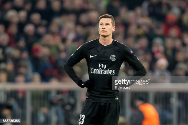 Julian Draxler of Paris SaintGermain looks on during the UEFA Champions League group B match between Bayern Muenchen and Paris SaintGermain at...