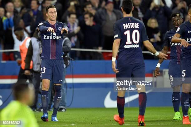 Julian Draxler of Paris SaintGermain reacts after scoring during the French Ligue 1 match between Paris Saint Germain and Lyon at Parc des Princes on...