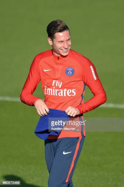 Julian Draxler of Paris SaintGermain reacts as he arrives for a Paris SaintGermain training session at Centre Ooredoo on October 12 2017 in Paris...