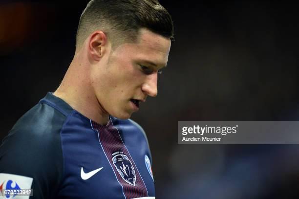 Julian Draxler of Paris SaintGermain reacts during the French Cup SemiFinal match between Paris SaintGermain and As Monaco at Parc des Princes on...