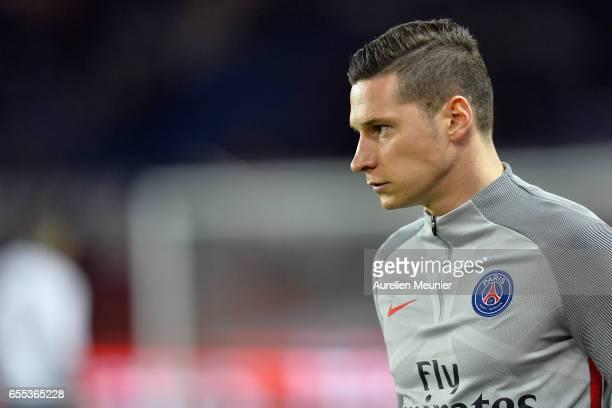 Julian Draxler of Paris SaintGermain reacts during warmup before the French Ligue 1 match between Paris Saint Germain and Lyon at Parc des Princes on...