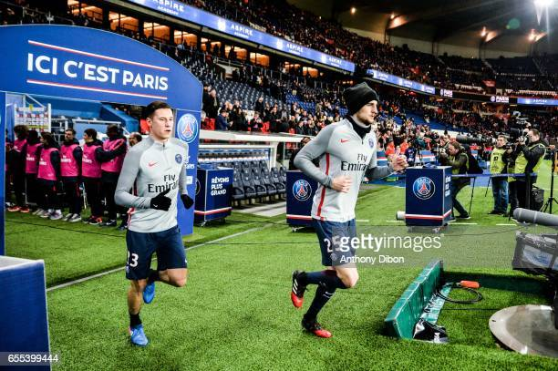 Julian Draxler of PSG and Adrien Rabiot of PSG during the French Ligue 1 match between Paris Saint Germain and Lyon at Parc des Princes on March 19...