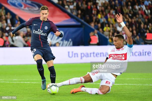 Julian Draxler of PSG and Christopher Jullien of Toulouse during the Ligue 1 match between Paris Saint Germain and Toulouse at Parc des Princes on...