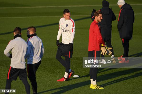 Julian Draxler of PSG and Kevin Trapp of PSG during the Training Session of Paris Saint Germain at Camp des Loges on January 6 2017 in Saint Germain...