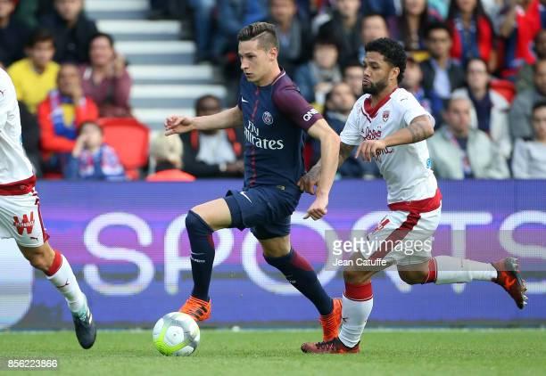 Julian Draxler of PSG and Otavio Henrique Santos of Girondins de Bordeaux during the French Ligue 1 match between Paris SaintGermain and FC Girondins...
