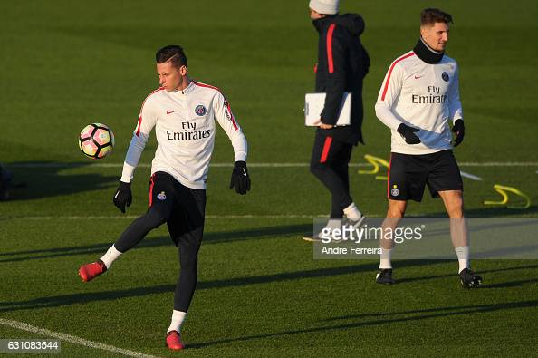 Julian Draxler of PSG and Thomas Meunier of PSG during the Training Session of Paris Saint Germain at Camp des Loges on January 6 2017 in Saint...