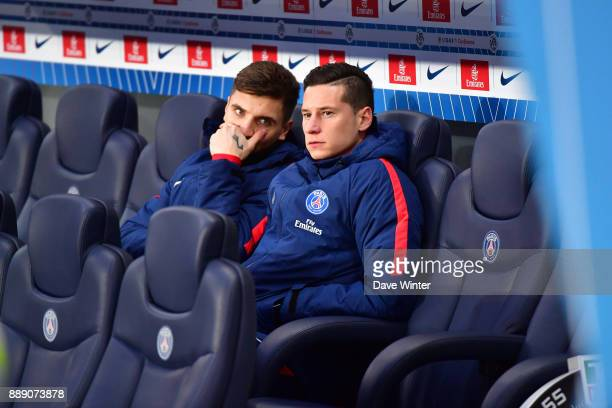 Julian Draxler of PSG and Thomas Meunier of PSG on the bench during the Ligue 1 match between Paris Saint Germain and Lille OSC at Parc des Princes...