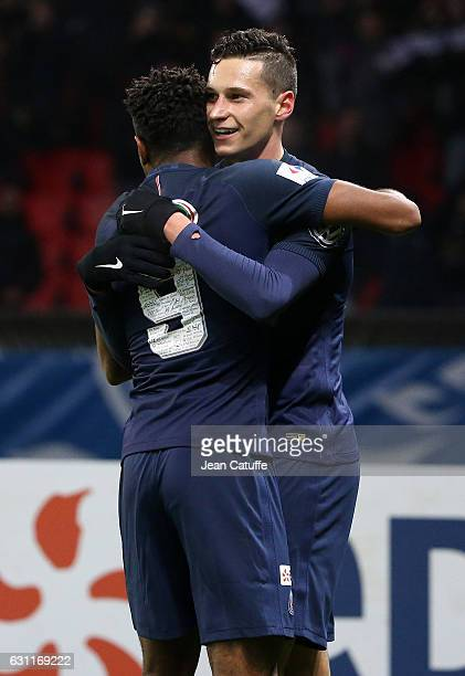 Julian Draxler of PSG celebrates his goal with Christopher Nkunku during the French Cup match between Paris SaintGermain and SC Bastia at Parc des...