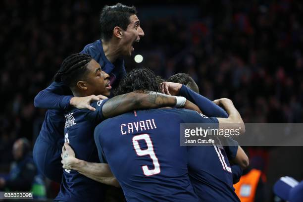 Julian Draxler of PSG celebrates with Presnel Kimpembe Angel Di Maria scoring the second goal of PSG during the UEFA Champions League Round of 16...