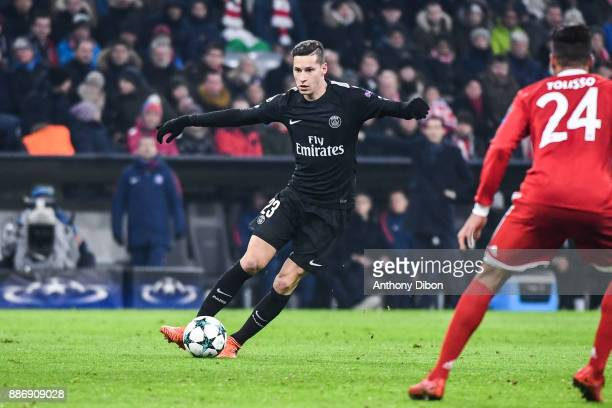 Julian Draxler of PSG during the UEFA Champions League match between Bayern Munich and Paris Saint Germain at Allianz Arena on December 5 2017 in...