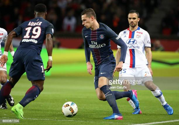 Julian Draxler of PSG in action during the French Ligue 1 match between Paris SaintGermain and Olympique Lyonnais at Parc des Princes stadium on...