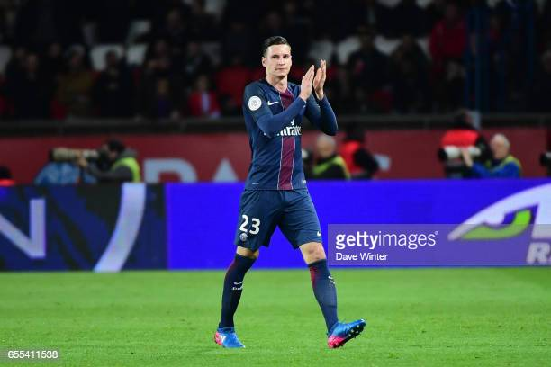 Julian Draxler of PSG is substituted during the French Ligue 1 match between Paris Saint Germain and Lyon at Parc des Princes on March 19 2017 in...