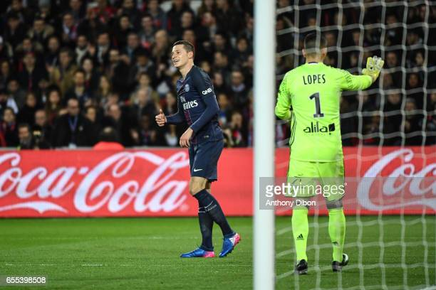Julian Draxler of PSG looks dejected during the French Ligue 1 match between Paris Saint Germain and Lyon at Parc des Princes on March 19 2017 in...