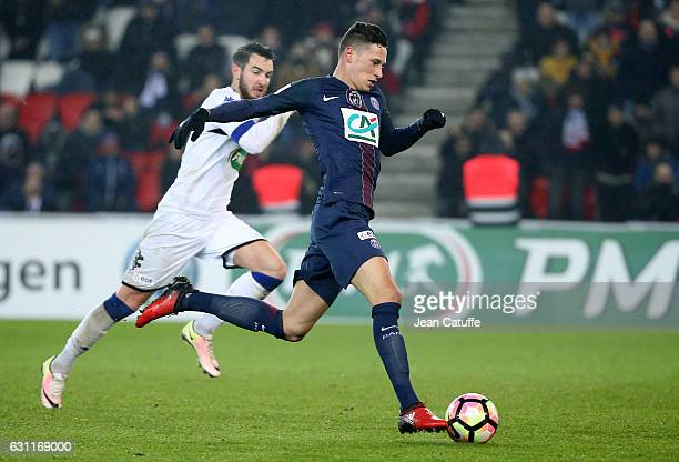 Julian Draxler of PSG on his way to score a goal during the French Cup match between Paris SaintGermain and SC Bastia at Parc des Princes on January...