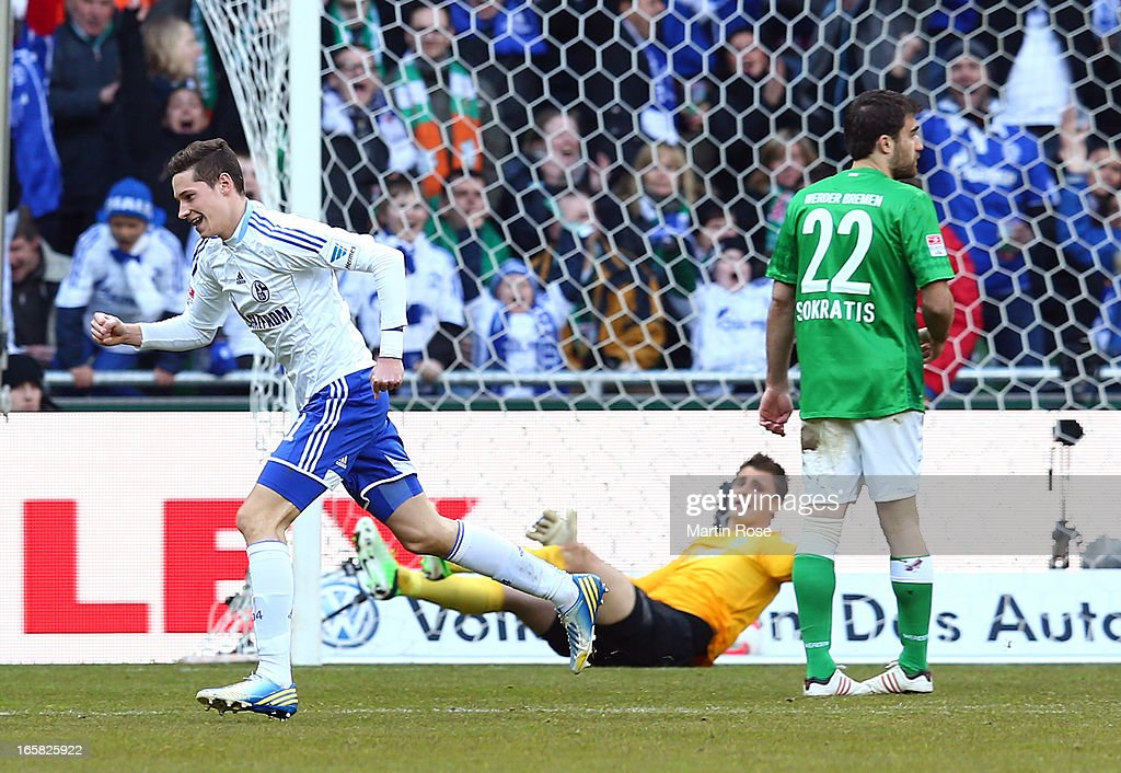 Julian Draxler of Schalke celebrates after he scores his team's opening goal during the Bundesliga match between Werder Bremen and FC Schalke 04 at Weser Stadium on April 6, 2013 in Bremen, Germany.