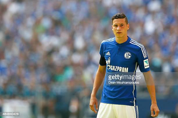 Julian Draxler of Schalke looks on during the Bundesliga match between FC Schalke 04 and SV Darmstadt 98 held at VeltinsArena on August 22 2015 in...