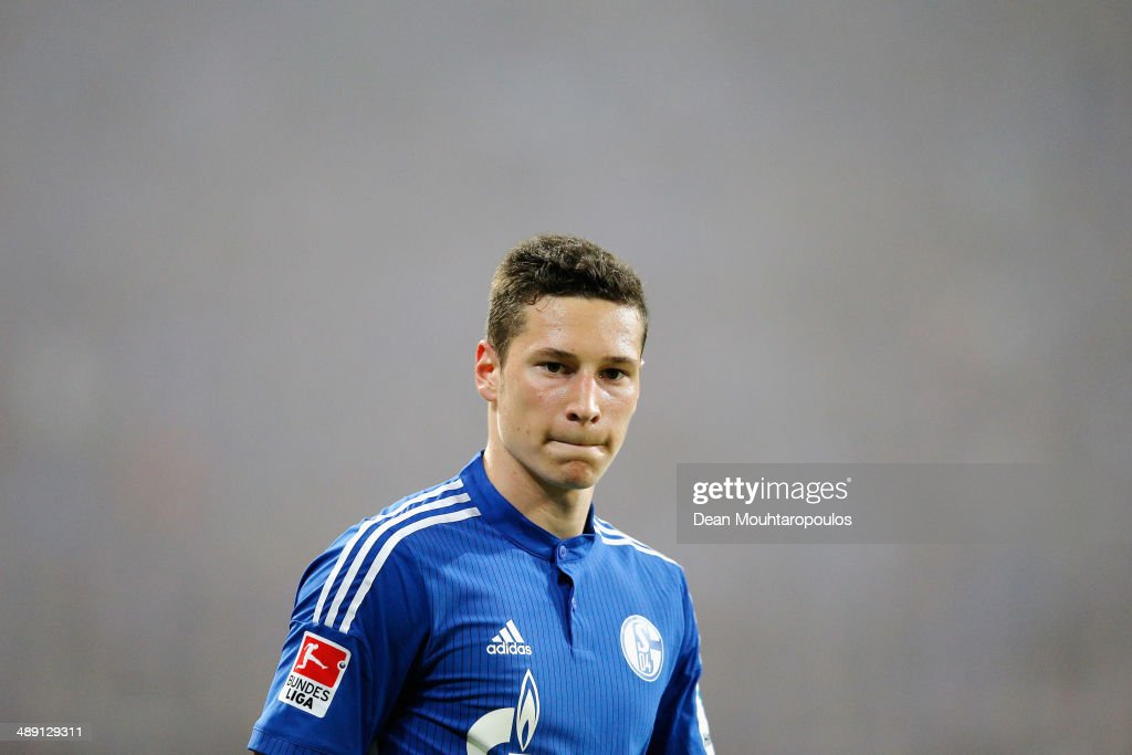 <a gi-track='captionPersonalityLinkClicked' href=/galleries/search?phrase=Julian+Draxler&family=editorial&specificpeople=7184479 ng-click='$event.stopPropagation()'>Julian Draxler</a> of Schalke looks on during the Bundesliga match between FC Schalke 04 and 1. FC Nuernberg held at Veltins-Arena on May 10, 2014 in Gelsenkirchen, Germany.