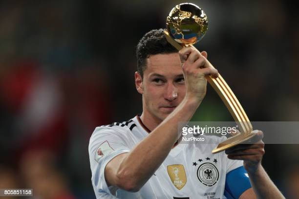 Julian Draxler of the Germany national football team celebrate winning after the 2017 FIFA Confederations Cup final match between Chile and Germany...