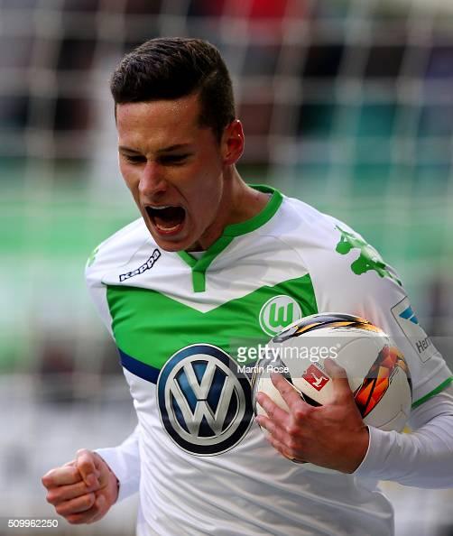 Julian Draxler of Wolfsburg celebrates after scoring the opening goal during the Bundesliga match between VfL Wolfsburg and FC Ingolstadt at...