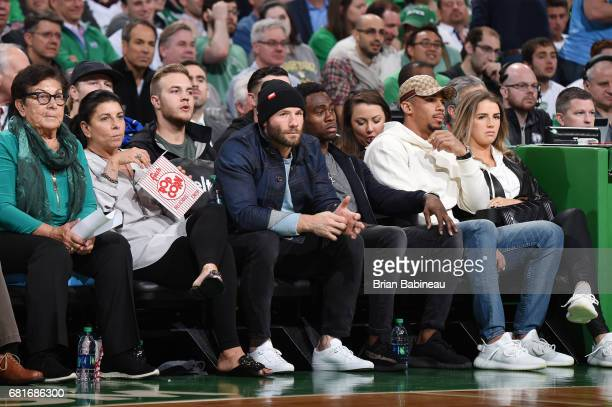 Julian Edelman and Brandin Cooks of the New England Patriots attend Game Five of the Eastern Conference Semifinals of the 2017 NBA Playoffs on May 10...